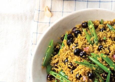 Curried Quinoa With Blueberries And Snap Peas